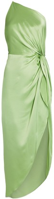 Mason by Michelle Mason Twist Knot Silk One-Shoulder Dress