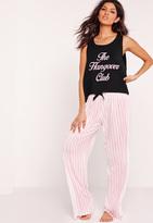 Missguided The Hangover Club Pyjama Set Black