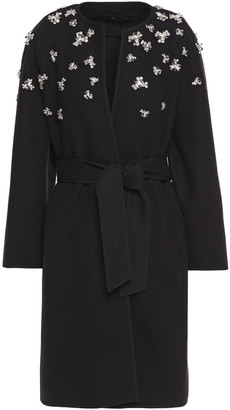 Jenny Packham Embellished Merino Wool-blend Felt Coat