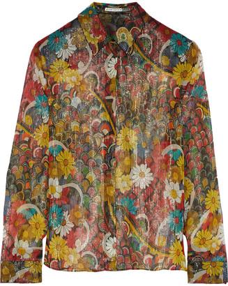 Alice + Olivia Willa Metallic Printed Silk-chiffon Shirt