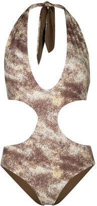 Marysia Swim Abstract-Print Cutout Swimsuit