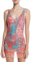 Fuzzi Floral Paisley One-Piece Swimdress with Tulle Overlay, Pink