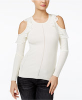 GUESS Ruffled Cold-Shoulder Sweater