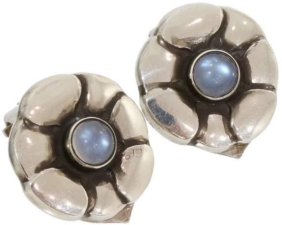 Georg Jensen Sterling Silver Moonstone Flower Design Clip Earrings