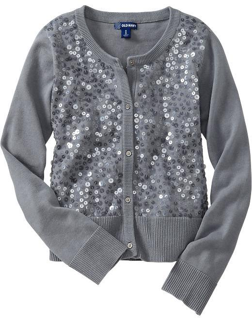 Old Navy Girls Sequined Button-Front Cardis