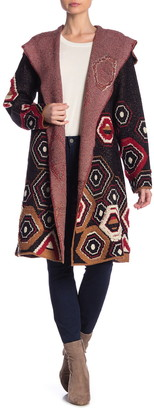 Vertigo Textured Geo Print Hooded Cardigan