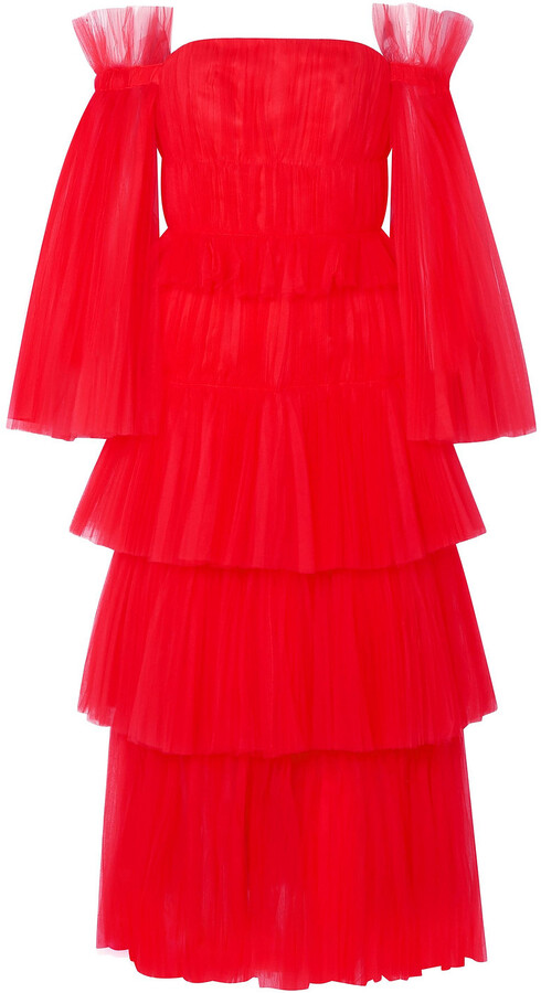 Carolina Herrera Off-the-shoulder Tiered Tulle Gown