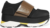 Marni Neoprene, Mesh And Glossed-leather Sneakers - Black