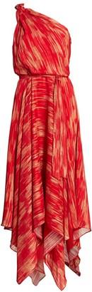 Halston Printed Braided Strap Gown