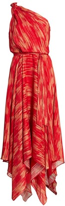 Halston Printed Braided Strap Gown