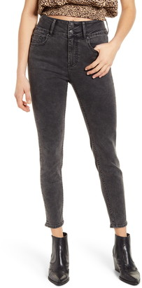 Vigoss Double Button High Waist Ankle Skinny Jeans
