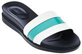 As Is LOGO by Lori Goldstein Leather Slip-On Footbed Sandals