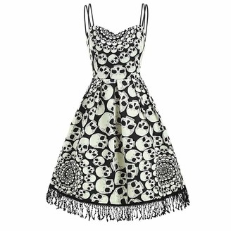 AKAIDE Dress Women Halloween Camis Vintage Skull Print Fringed Tassel Evening Party Strap Harness Dress(White XXL)