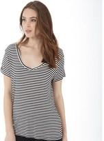 Jacqueline De Yong Womens Spirit Stripe V-Neck T-Shirt Cloud Dancer 2