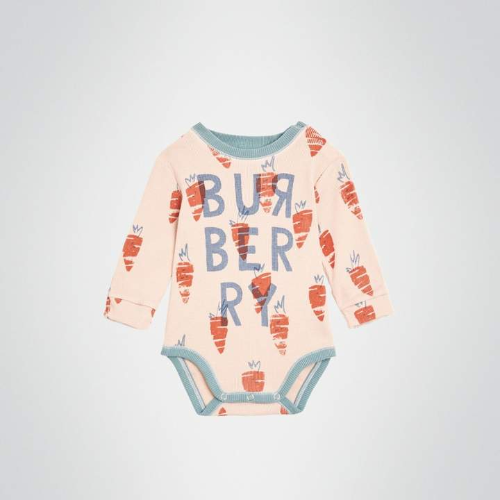 Burberry Childrens Carrot Print Cotton Bodysuit