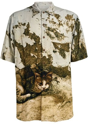Song For The Mute Cat Print Bowling Shirt