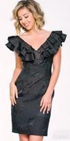 Jovani V-Shape Ruffle Textured Floral Cocktail Dress