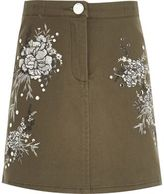 River Island Girls Khaki floral embroidered mini skirt