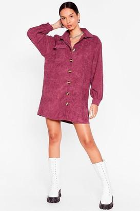 Nasty Gal Womens The Easy Way Out Corduroy Shirt Dress - Mauve