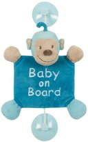 Nattou Jungle Collection-Baby On Board Monkey, Light Blue