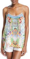 Camilla Low-Back Sleeveless Printed Silk Top