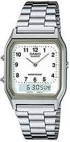 Casio Men's Classic AQ230A-7 Stainless-Steel Quartz Watch with White Dial