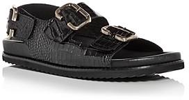 Freda Salvador Women's Piper Buckle Croc-Embossed Slingback Sandals