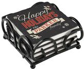 Personal Creations Personalized Set of 4 Happy Holidays Coasters with Holder