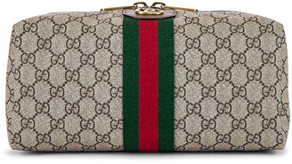 Gucci Pouch in Beige Ebony & Green 7 Red | FWRD