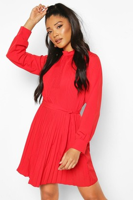 boohoo Pleated High Neck Tie Waist Shift Dress