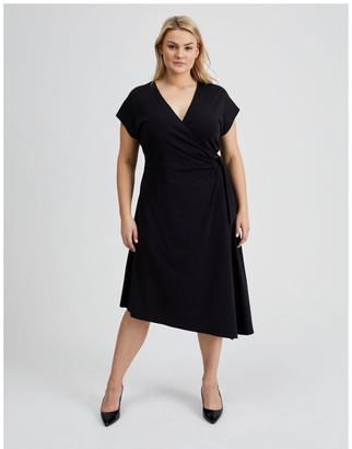 Basque Wrap Jersey Dress