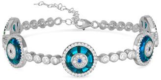 Sphera Milano Silver Cz Evil Eye Linked Tennis Bracelet