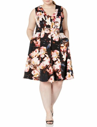 Taylor Dresses Women's Plus Size Sleeveless Floral Scuba Fit-and-Flare Dress