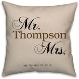 """Mr. and Mrs."" Established Square Throw Pillow in Beige"