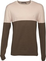 French Connection Mens Lightweight Cut And Sew Jumper Khaki/Stone