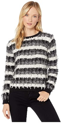 Vince Camuto Long Sleeve Striped Fringe Sweater (Antique White) Women's Sweater
