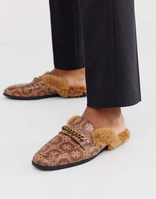 Asos Design DESIGN backless mule loafer in brown faux leather with print and faux fur insock