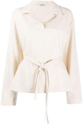 LE 17 SEPTEMBRE Open-Collar Tie-Waist Shirt