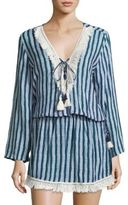 Cool Change coolchange Chloe Fringed Batik Striped Tunic Dress