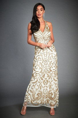 Linzi Jywal London GOLD EMBELLISHED BACKLESS EVENING MAXI DRESS