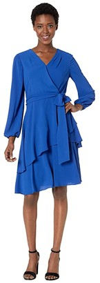 Tahari ASL Long Sleeve Tiered Chiffon Dress with Self Tie Waist (Royal) Women's Dress