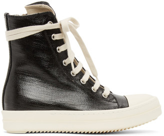 Rick Owens Black Lacquered High Sneakers