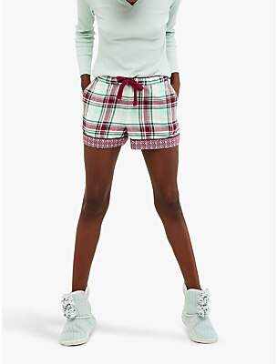 White Stuff Midnight Check Pyjama Shorts, Cosy Cream