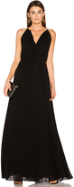 Elizabeth and James Cadence Tie Neck Pleated Gown in Black. - size 2 (also in )