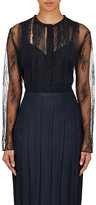 Nina Ricci Women's Lace Pleated-Front Blouse-NAVY