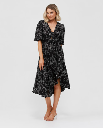 Pilgrim Women's Black Midi Dresses - Raeven Dress - Size One Size, 8 at The Iconic