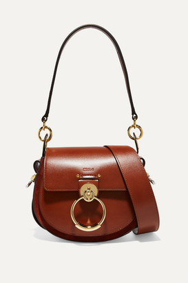 Chloé Tess Small Leather And Suede Shoulder Bag - Brown