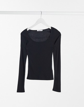 NA-KD square-neck ribbed long-sleeved top in black