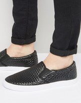 Asos Slip On Plimsolls In Black Woven Effect
