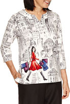 Alfred Dunner 3/4 Sleeve Scenic Print Top